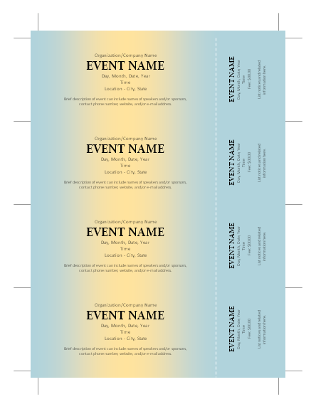 Perfect Free Ticket Template More  Fundraiser Ticket Template Free Download