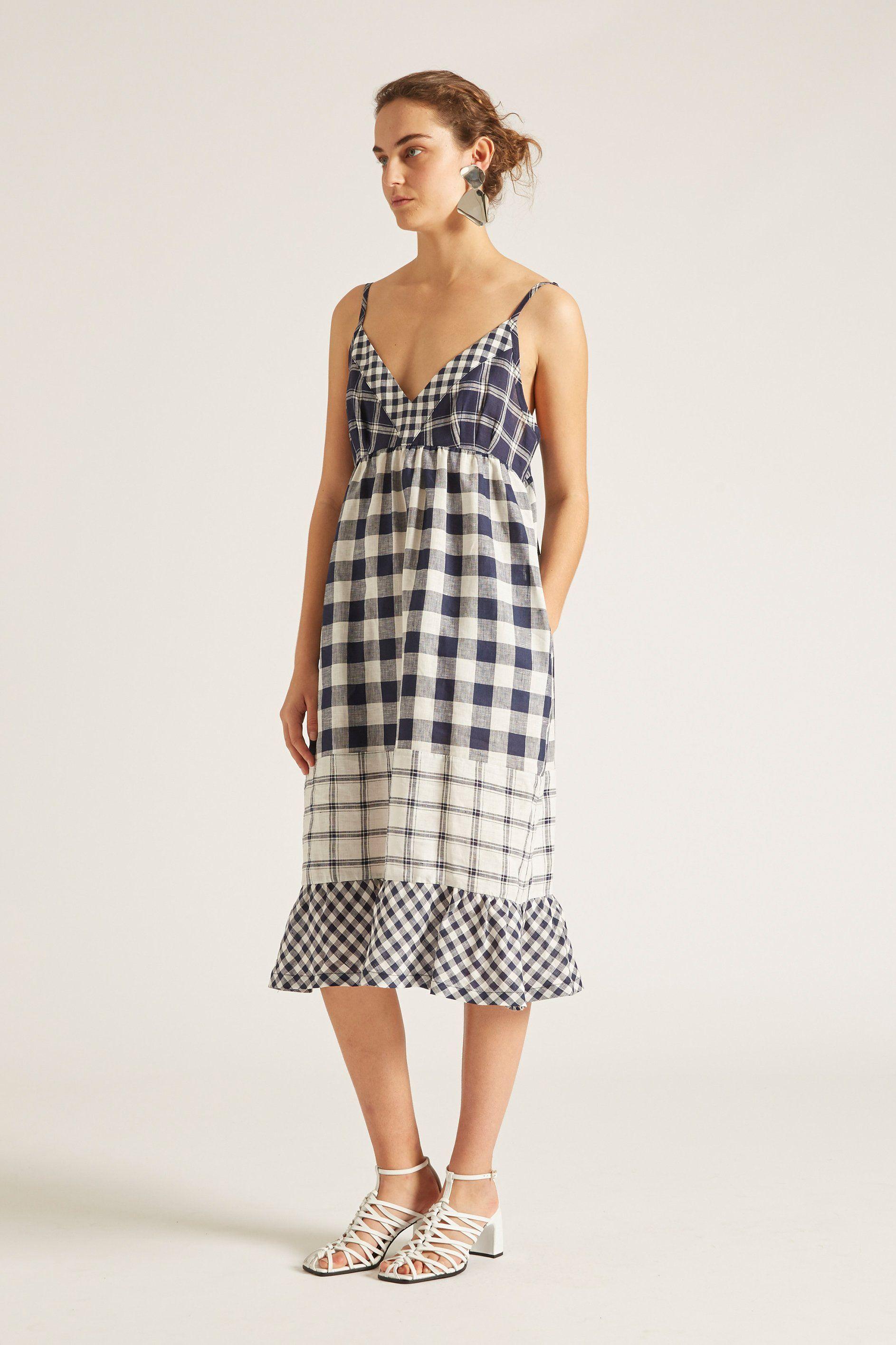ece3f19ea03 Nellie Checked Linen Slip Dress - Midnight – Lee Mathews