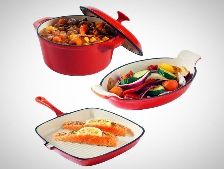 Iron Dishes Set Casserole Cooking Gratin Griddle Oven Table