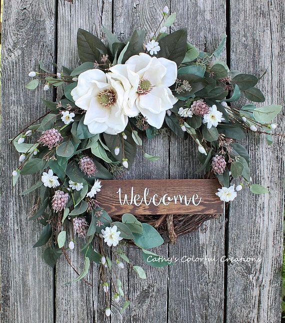Farmhouse Wreath, Farmhouse Magnolia Wreath, Magnolia
