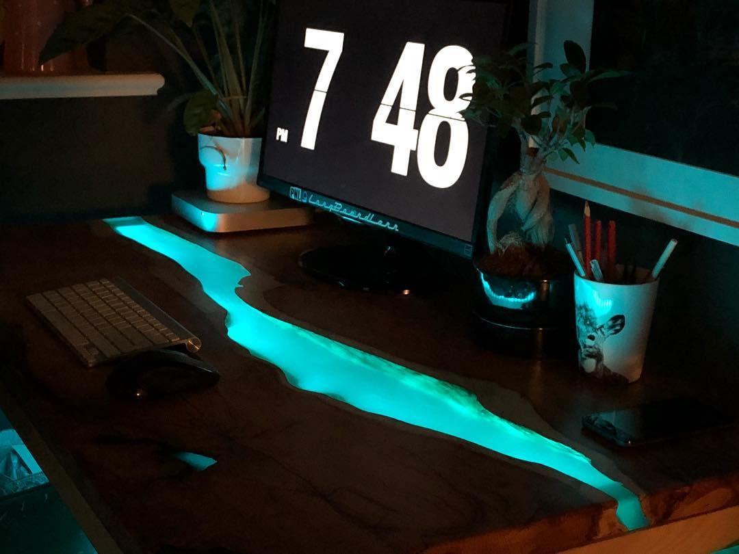 Epoxy led design table epoxy computer table witd led