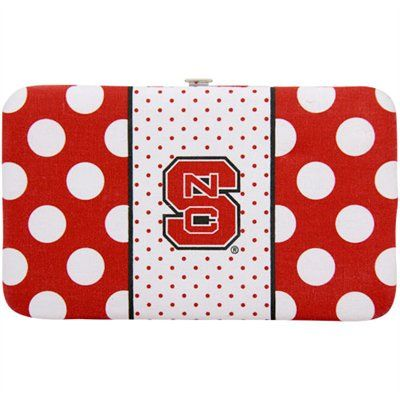 North Carolina State Wolfpack Womens Polka Dot Flat Wallet – Red/White