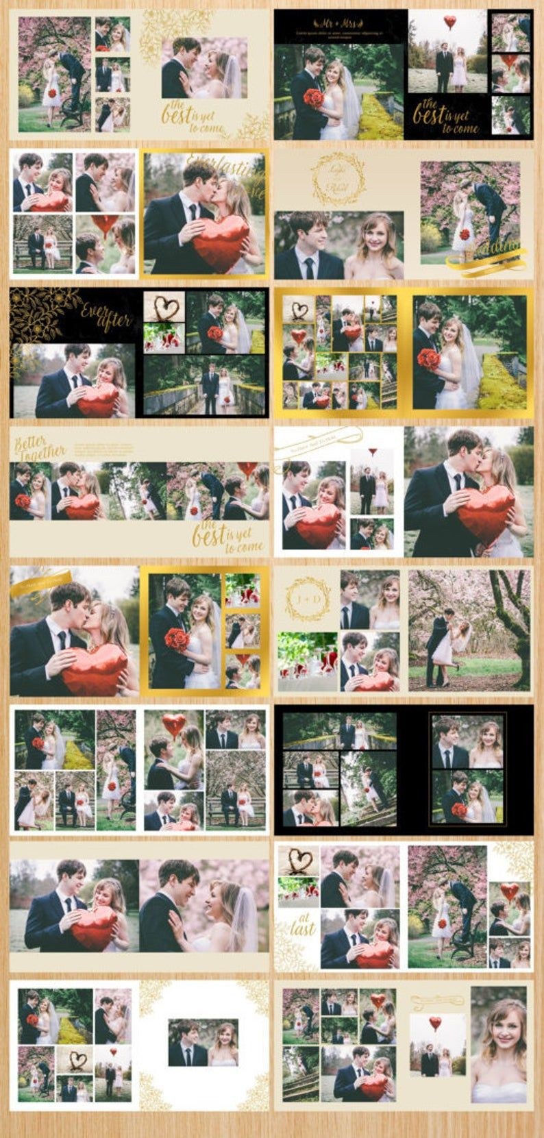 On Sale Wedding Album Template 12 X 12 Elegant Gold Etsy In 2020 Wedding Album Wedding Album Templates Wedding Album Maker