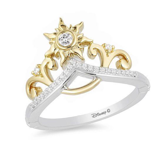 Enchanted Disney Rapunzel 1 10 Ct T W Diamond Sun Tiara