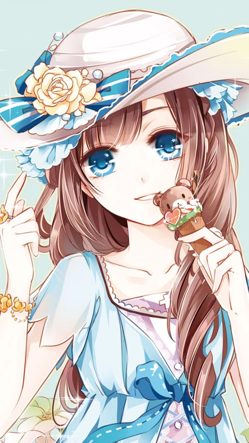 kawaii anime girl brown hair blue eyes cute kawaii
