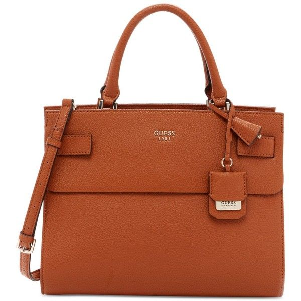 Guess Cate Satchel ($118) ❤ liked on Polyvore featuring bags, handbags, cognac, pocket purse, brown handbags, guess bags, brown bag and satchel handbags