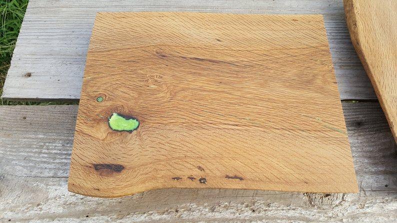 Post Oak Charcuterie Board with Green Epoxy