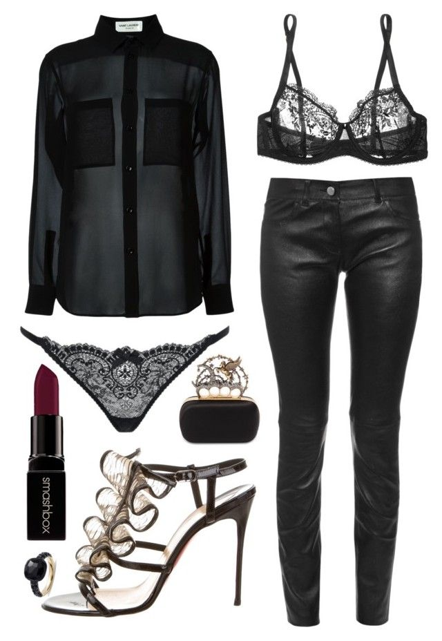 """""""Stacie"""" by goingdigi ❤ liked on Polyvore featuring Yves Saint Laurent, Balenciaga, Mimi Holliday by Damaris, L'Agent By Agent Provocateur, Christian Louboutin, Alexander McQueen, Smashbox and Pomellato"""