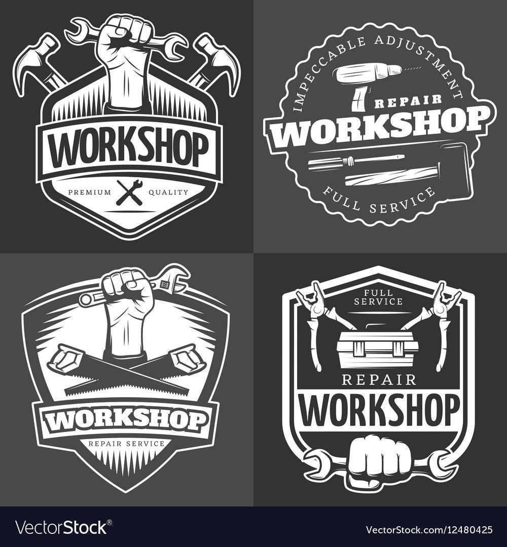 Four Vintage Repair Workshop Logo Set With Full Service Repair Workshop Description And Others Vector Illustration Download A Logo Set Shop Logo Logo Clipart