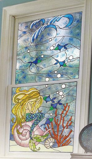 mermaid faux stained glass window film set - Decorative Window Film Stained Glass