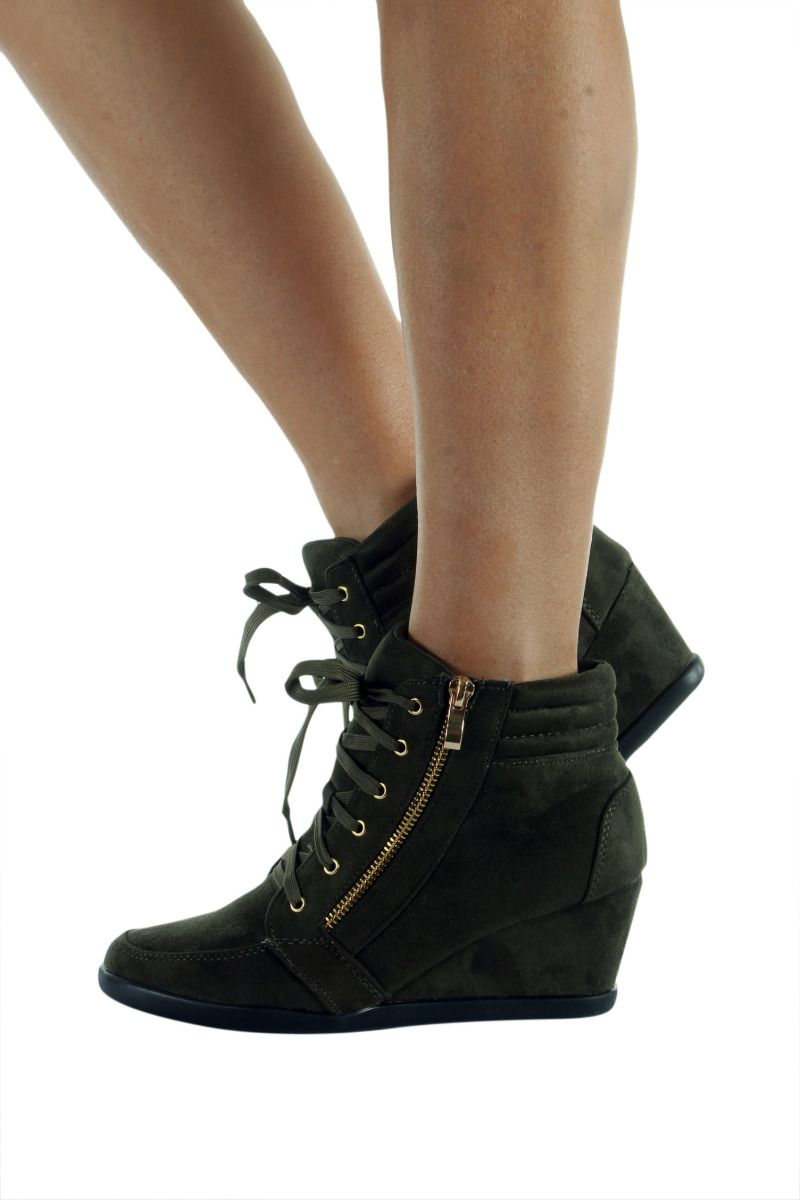 LACE-UP WEDGE BOOTIE WOMEN PEGGY-56-34 FOREVER FOOTWEAR OLIVE