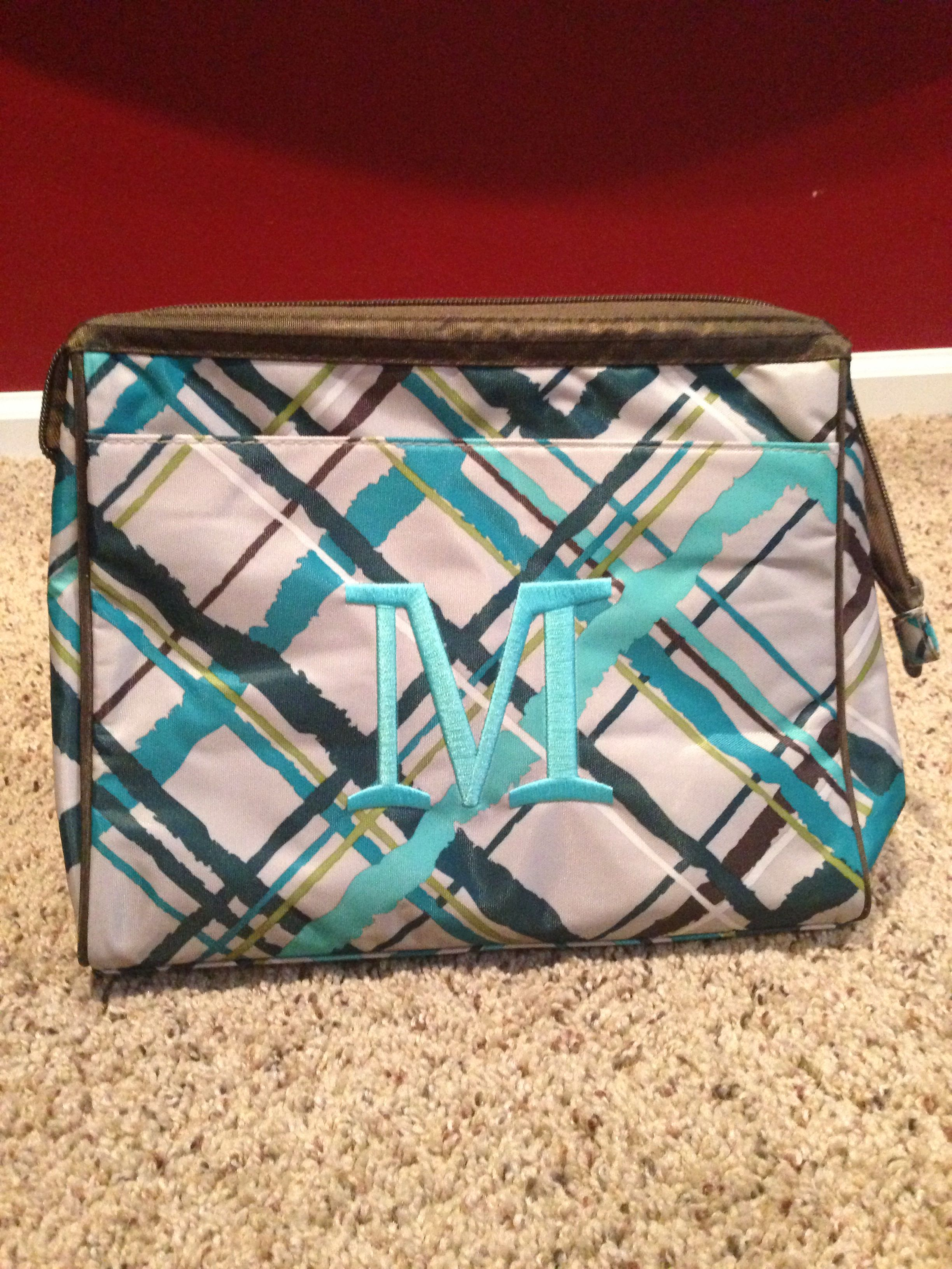 41c4062310 Thirty One Cosmetic bag set in Sea Plaid with turquoise personalization