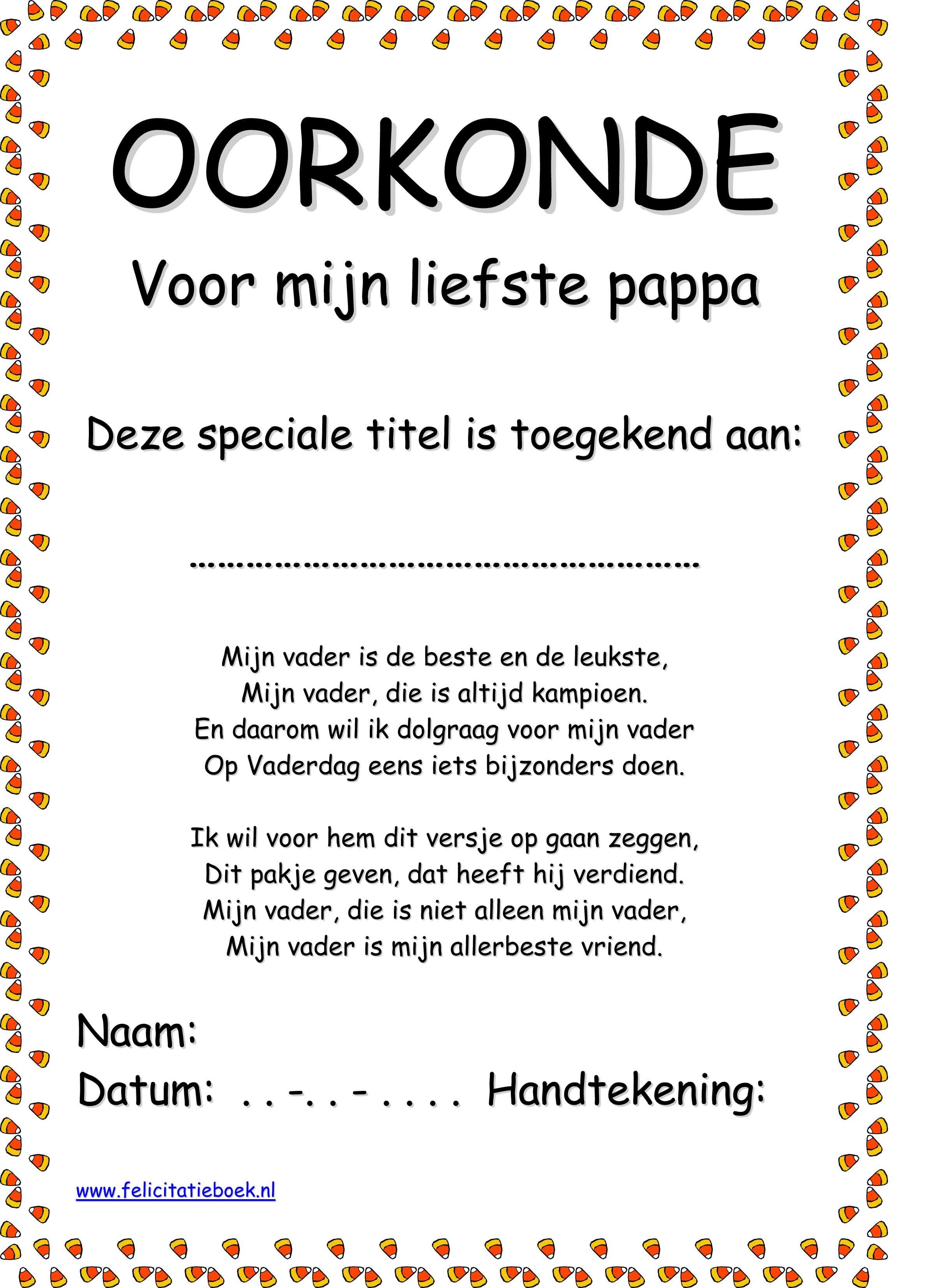 Vaderdag Moederdag oorkonde 2014 voorbeeld zelf maken knutselen ...