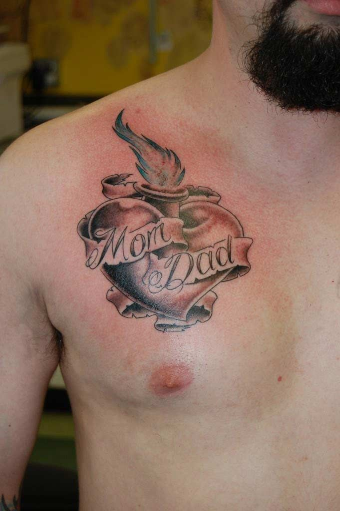 Mom And Dad Bottle Lighting Tattoo On Chest Small Tattoos For Guys Tattoos For Guys Tattoo Designs Men