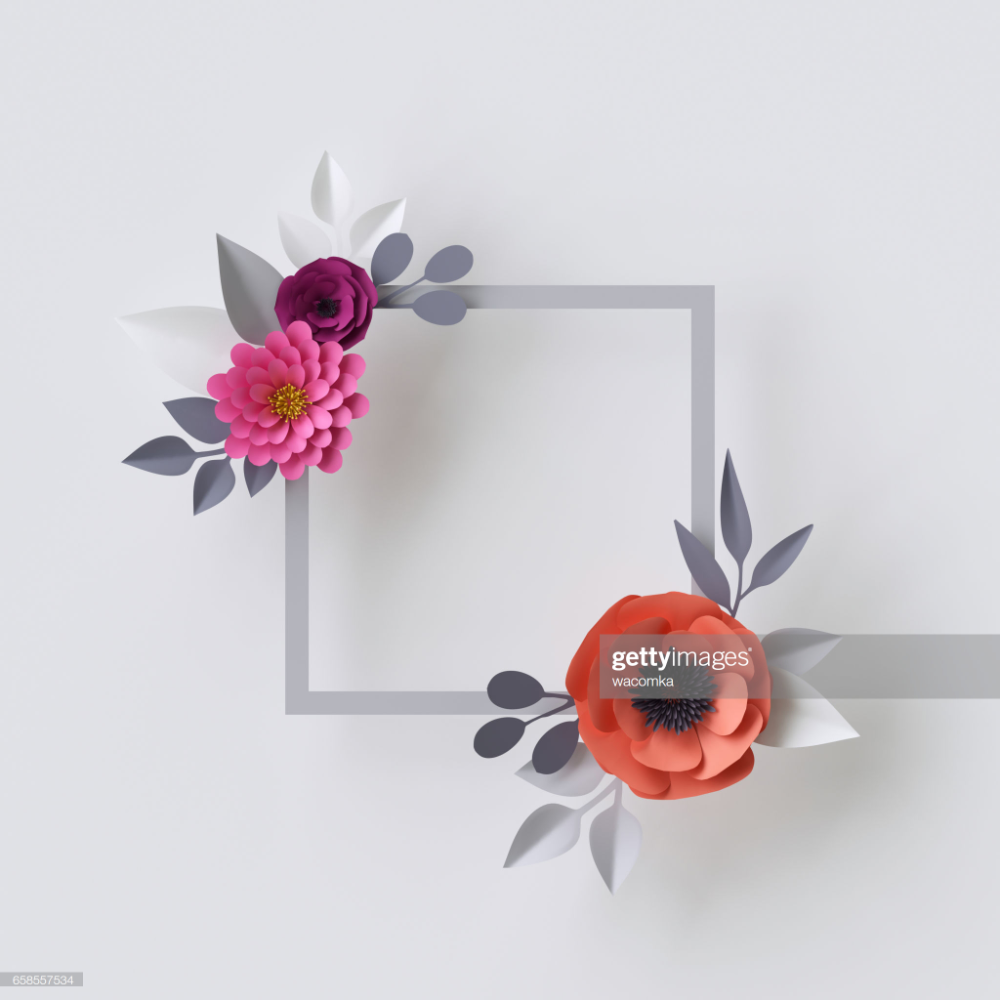 3d Render Abstract Paper Flowers Floral Background Blank Square Abstract Paper Floral Background Paper Flowers