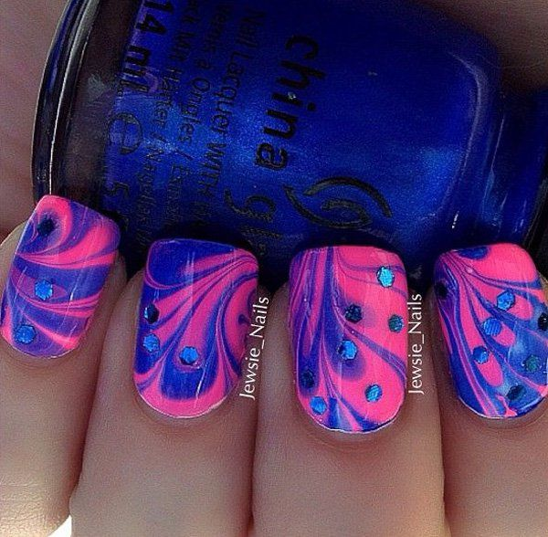 35 Water Marble Nail Art Designs Nail Art Pinterest Water