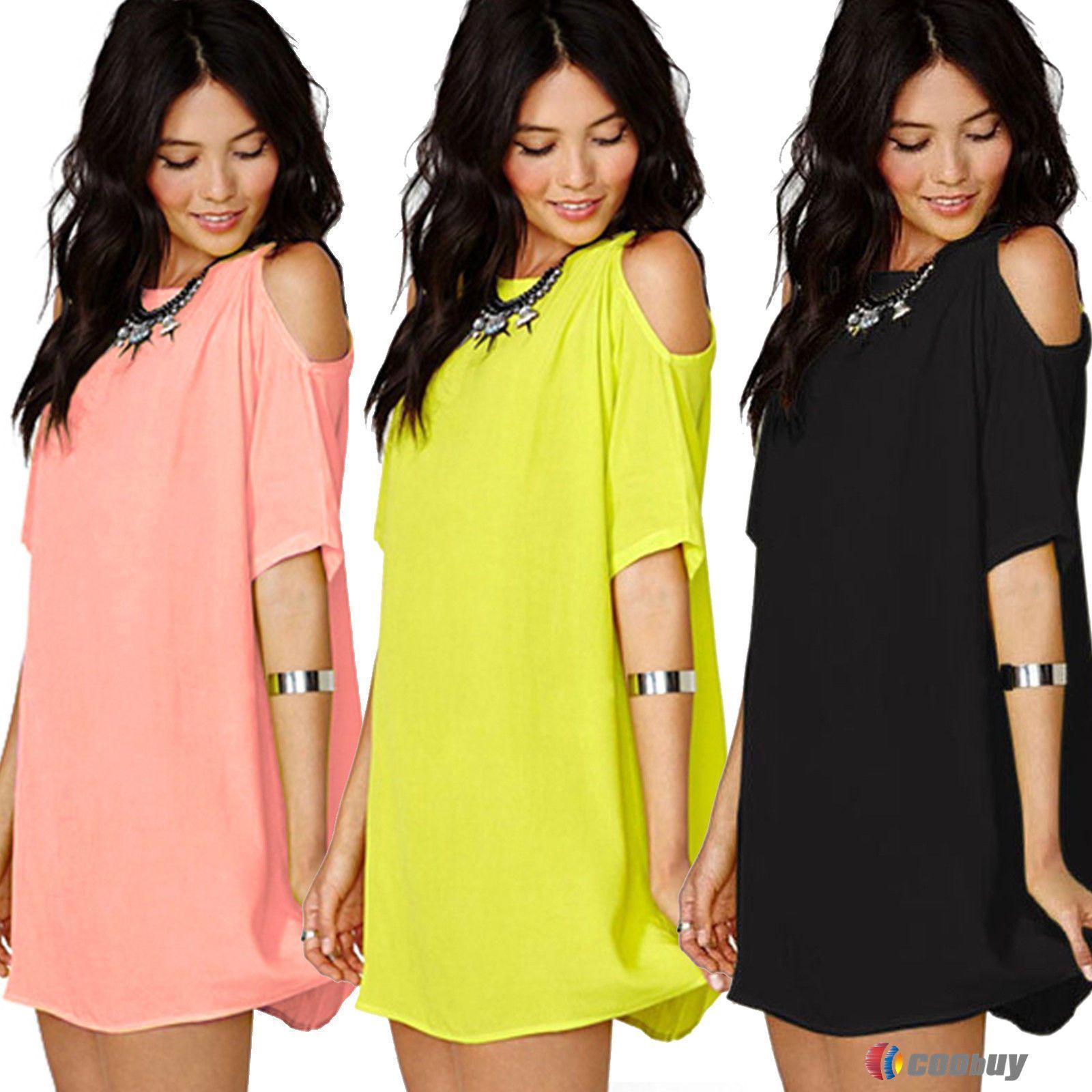 b9f54c9c3195 Uk6-22 Womens Plus Size Chiffon Baggy T-Shirts Blouses Dresses Off Shoulder  Tops