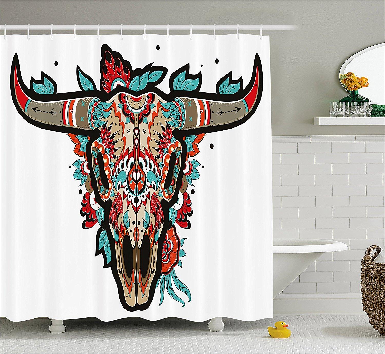 Western Shower Curtain by Ambesonne, Buffalo Sugar Mexican Skull ...
