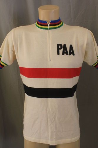 Woolistic MEDIUM Merino Wool PAA Pasadena Cream Rainbow SS Cycling Bike  Jersey 2cc454827