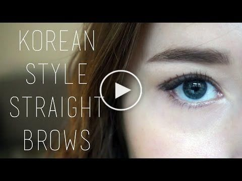 tutorial  korean style straight brows  western arched