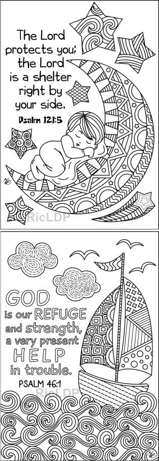 Set Of 8 Coloring Scripture Cards Set 2 Cute Doodles For Kids