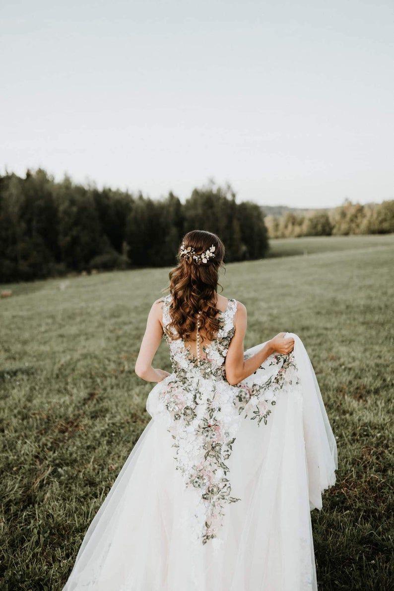 Ivory Floral Forest Wedding Dress Inga Ezergale Design Forest Etsy Wedding Dresses With Flowers Forest Wedding Dress Embroidered Wedding Dress [ 1191 x 794 Pixel ]