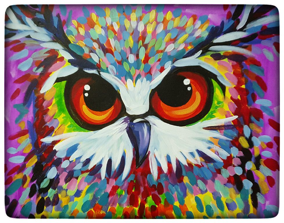 Paint and Vino | Animal paintings, Cow paintings on canvas ...Simple Owl Painting