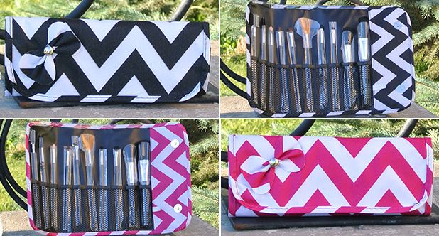 Glam Squad!  Makeup Brush Set with Chevron Case - FREE SHIPPING ON ALL ORDERS!