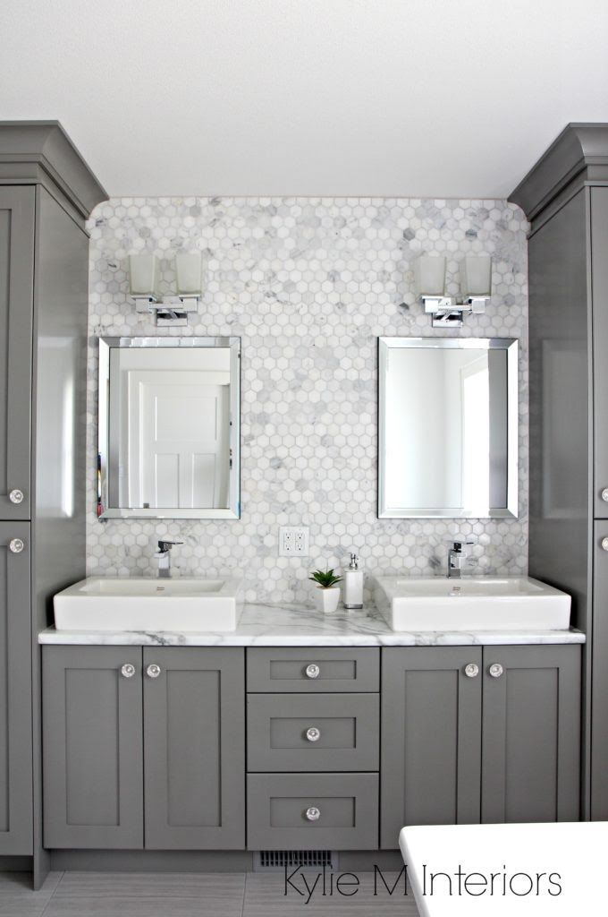 double vanity in bathroom painted benjamin moore chelsea gray rh pinterest com