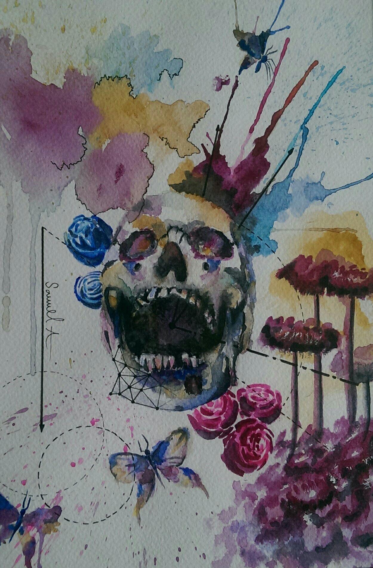 Instagram semlan_99 watercolour skull flower rose
