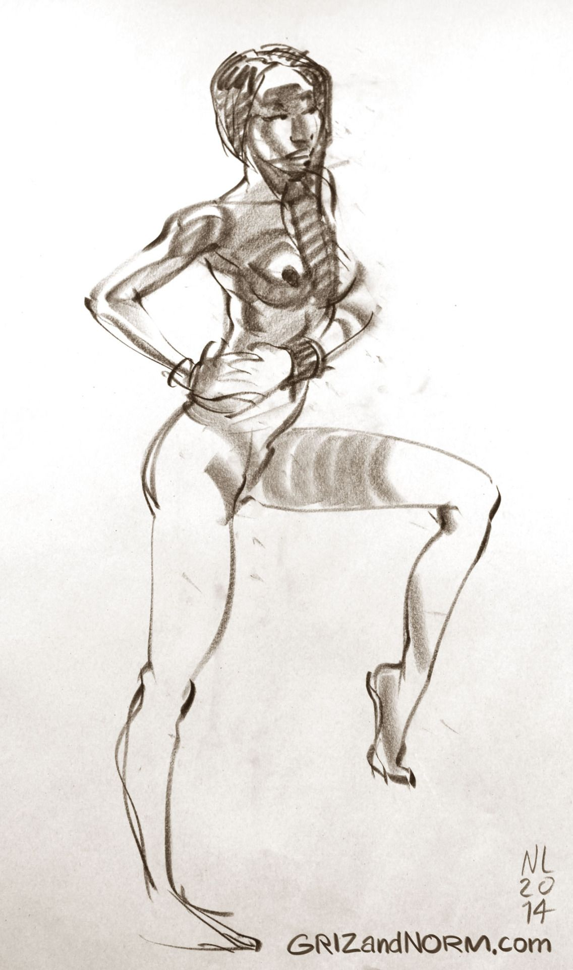 Life Drawing 08/07/14 Very athletic model. It\'s rare to see such ...
