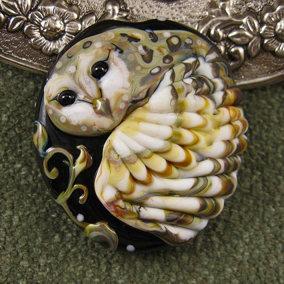 BONUS WEEK NEW Kerribeads Lampwork Barn Owl Focal Bead-reserved for Jaime