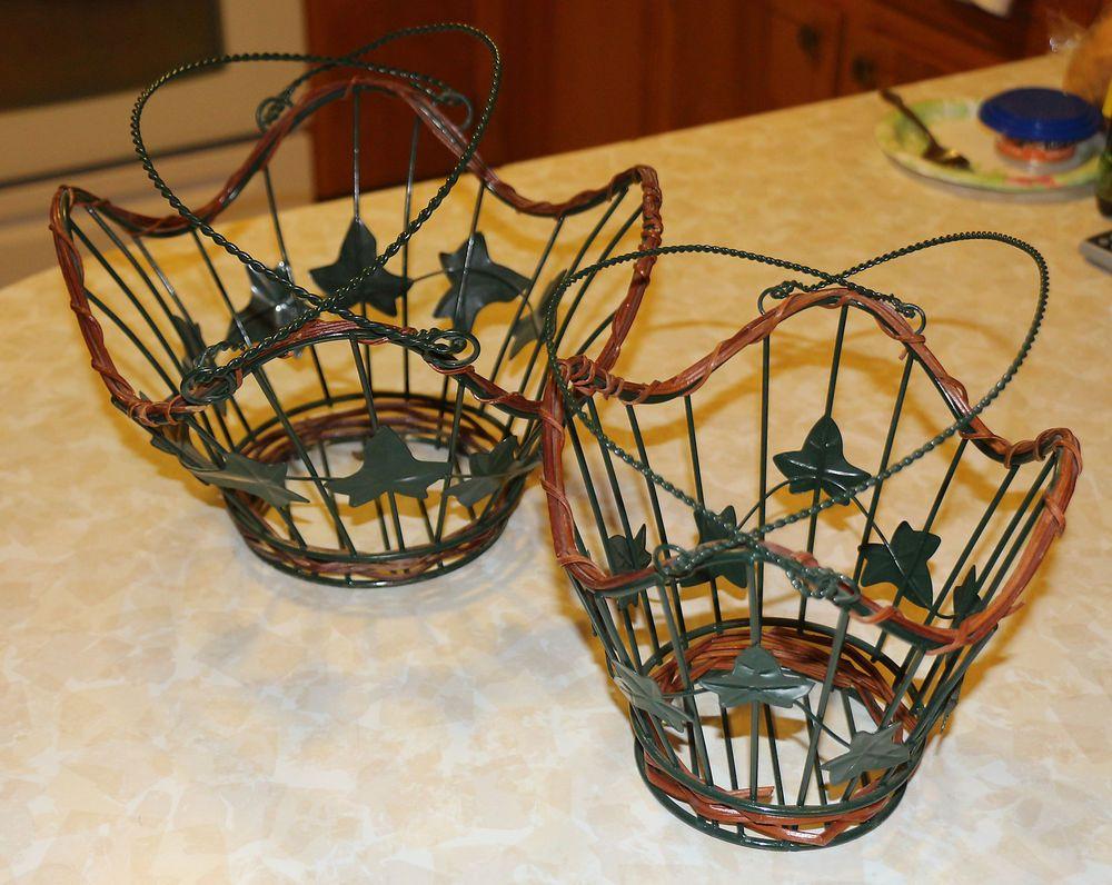 LOT SET OF 2 GREEN METAL WIRE LEAF IVY GARDEN BASKETS | Wire baskets ...