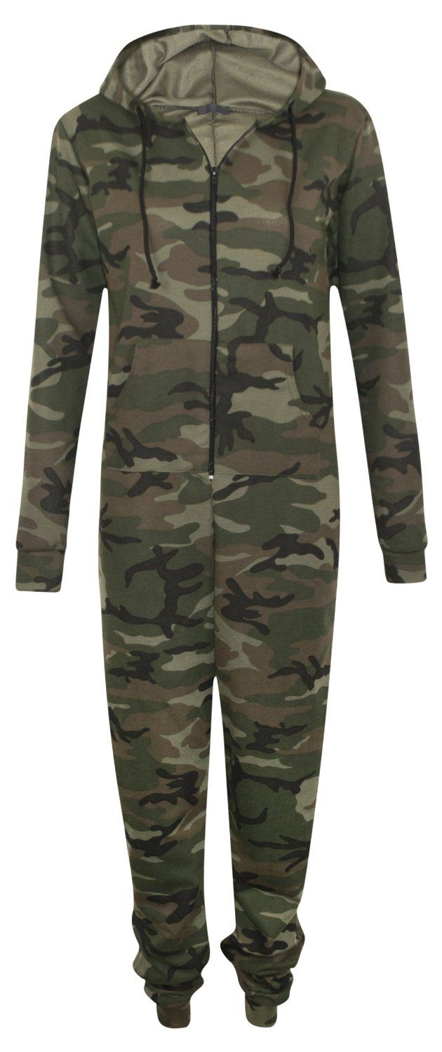 ec57662dc Womens Zip Up Hooded Camouflage Army Celeb Rihanna All In One ...