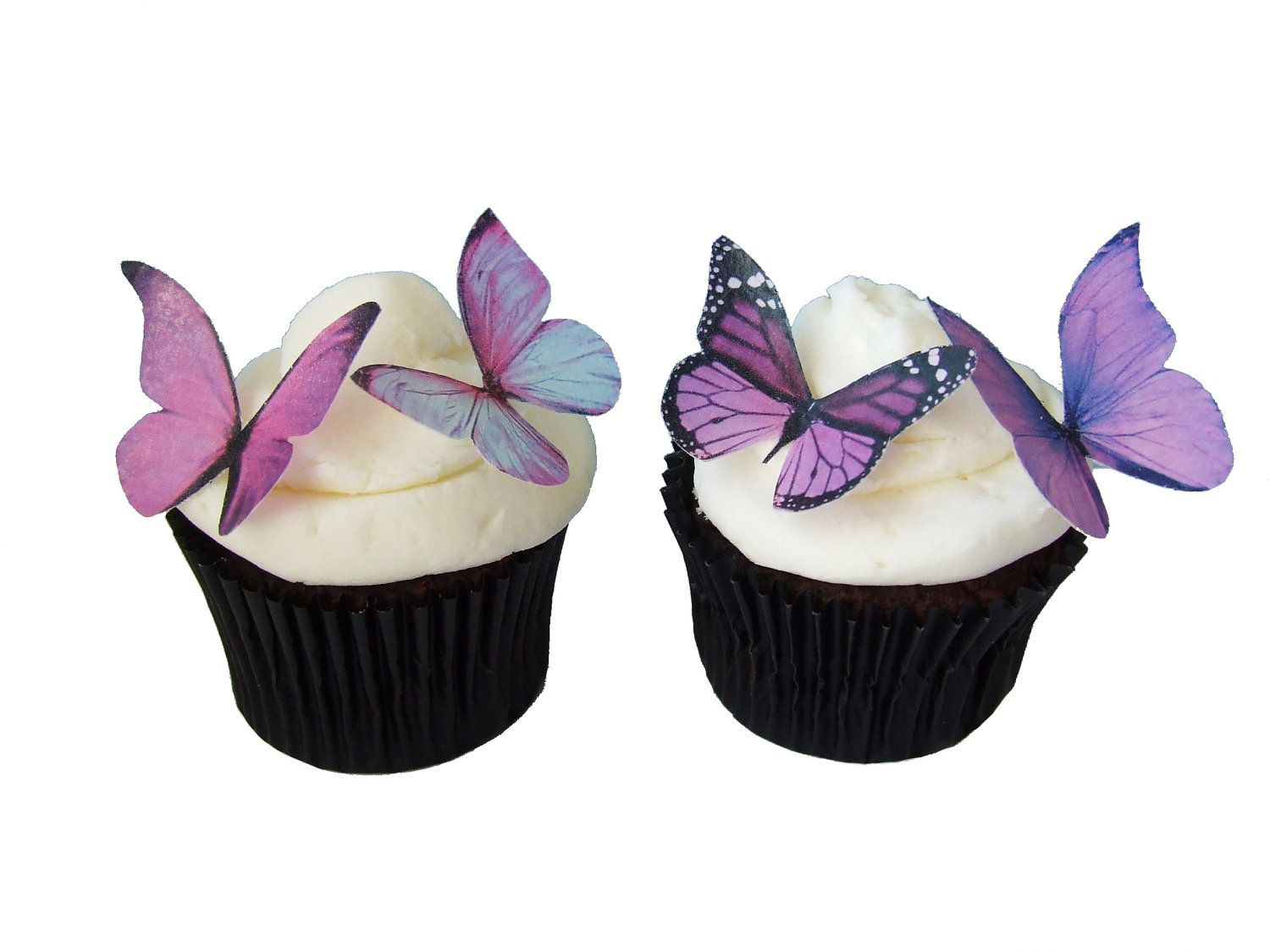 purple themed bridal shower%0A    Edible Butterflies  Prettiest Purple  Cupcake Toppers  Cake  Decorations  Wedding Cake