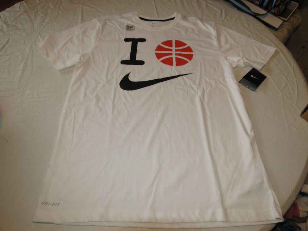 f6fa573a6961 Nike DRI FIT cotton tee I Basketball T shirt Men s active 631515 white 100  L lg  Nike  Tshirt