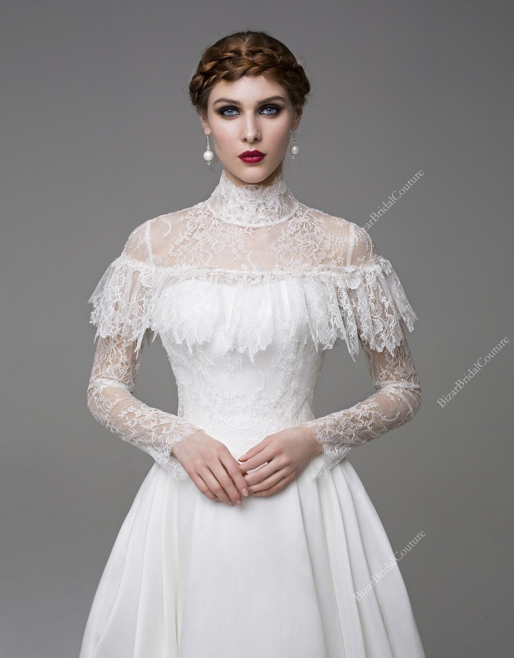 Long sleeve bridal gowncocounique wedding gownsimple wedding