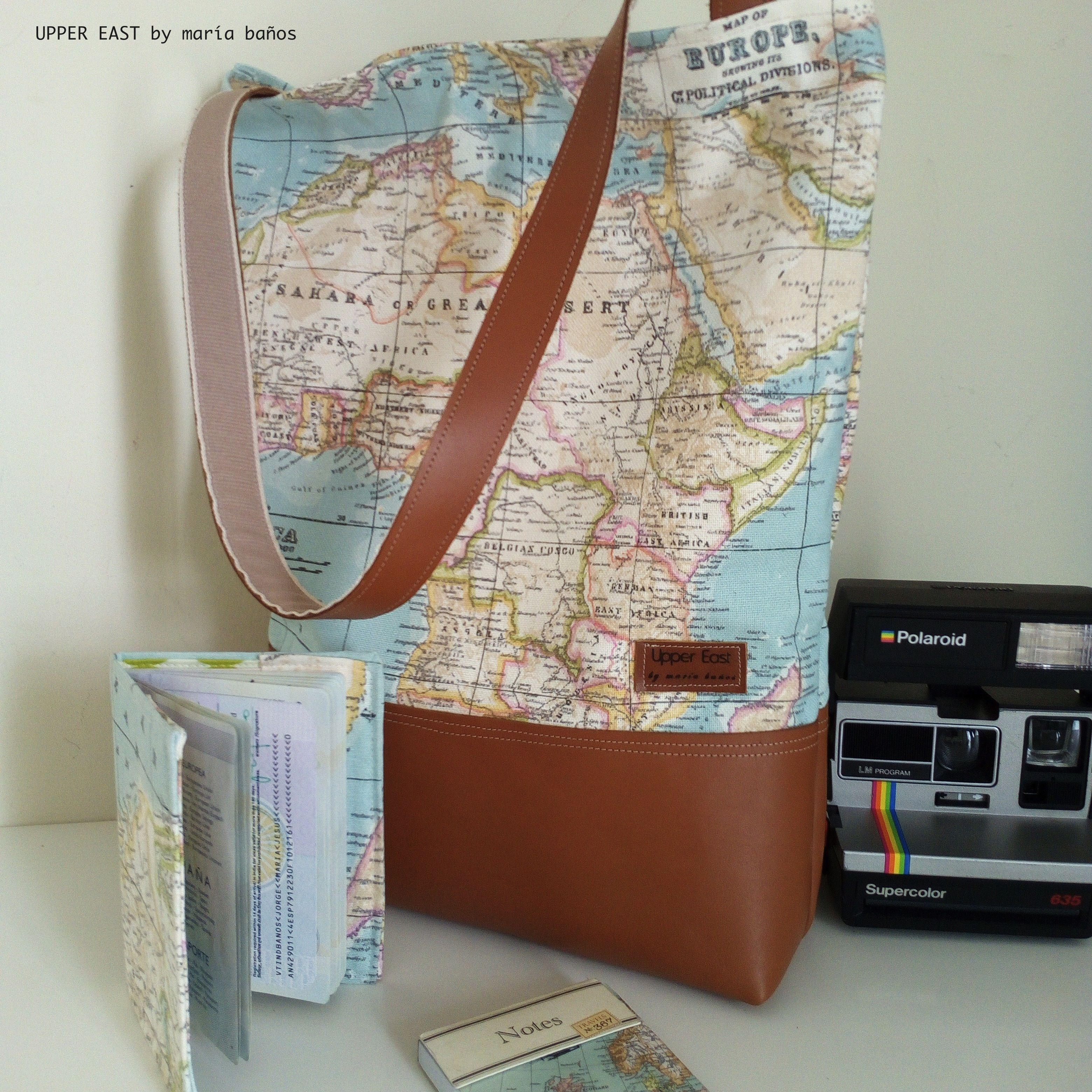 tote bag bolso mapamundi en lona y