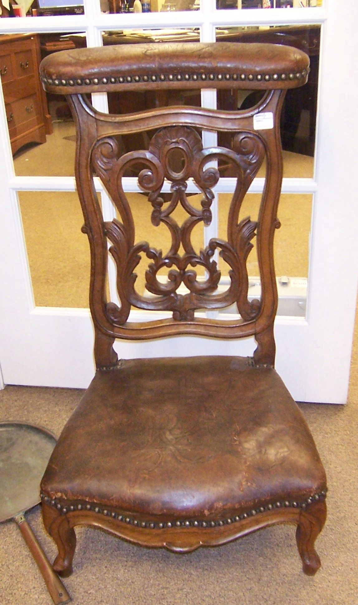 Lolo French Antiques - Louis XV French prayer chair, early 19th c. Walnut w - Lolo French Antiques - Louis XV French Prayer Chair, Early 19th C