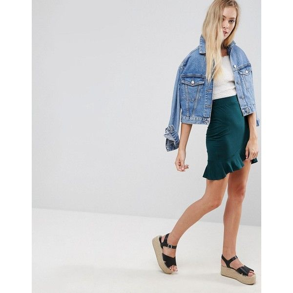 ASOS Wrap Mini Skirt with Tie Waist (32 AUD) ❤ liked on Polyvore featuring skirts, mini skirts, green, green skirt, short mini skirts, high waisted mini skirt, short wrap skirt and high waisted skirts