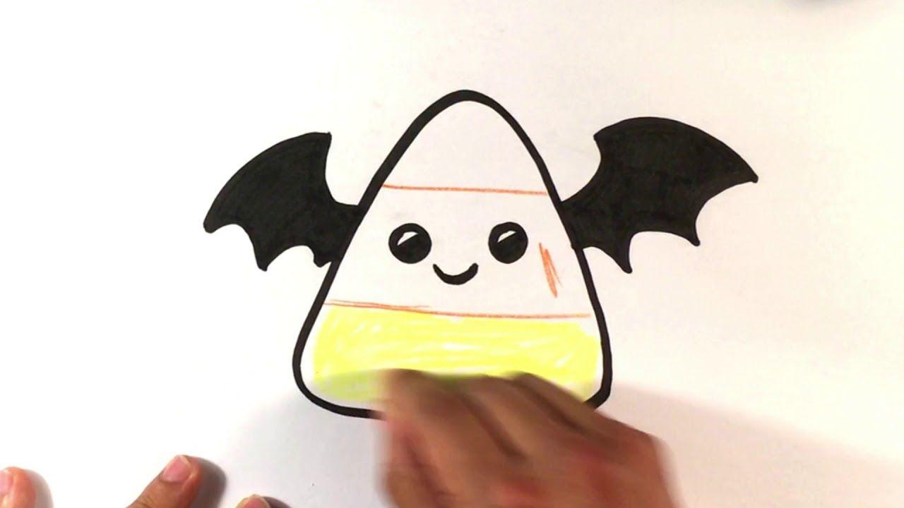 How To Draw Cute Candy Corn Cute Bat Version Halloween