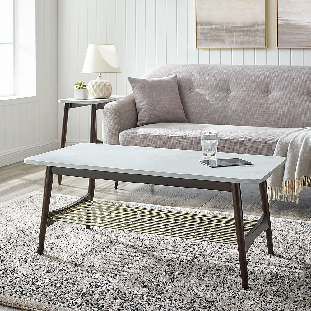 Walker Edison 44 Faux Marble Tapered Leg Coffee Table Dark Oak Bbfjamctwmdbo Best Buy In 2021 Coffee Table Coffee Table Wood Home Decor [ 1000 x 1000 Pixel ]