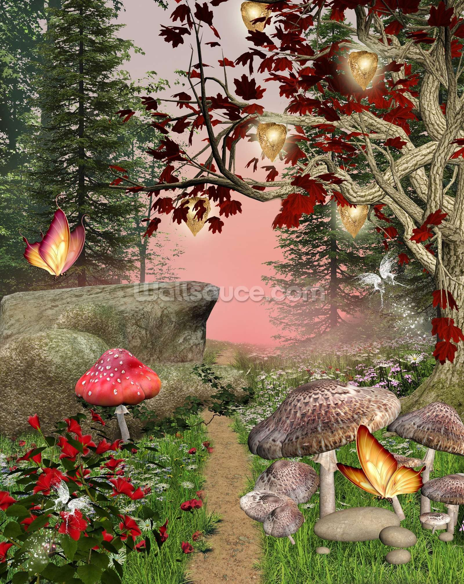 Enchanted Nature Pathway Forest wall mural, Garden mural