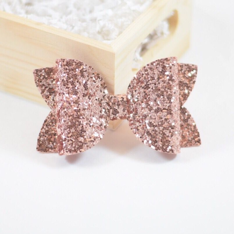 "Handmade rose gold /& baby pink glitter bows baby//girls 3/"" hair clip or headband"