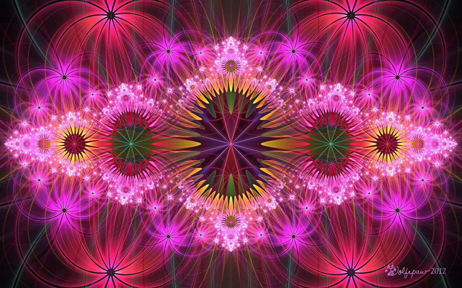 trippy fractal trippy flowers wolfepaw digital art