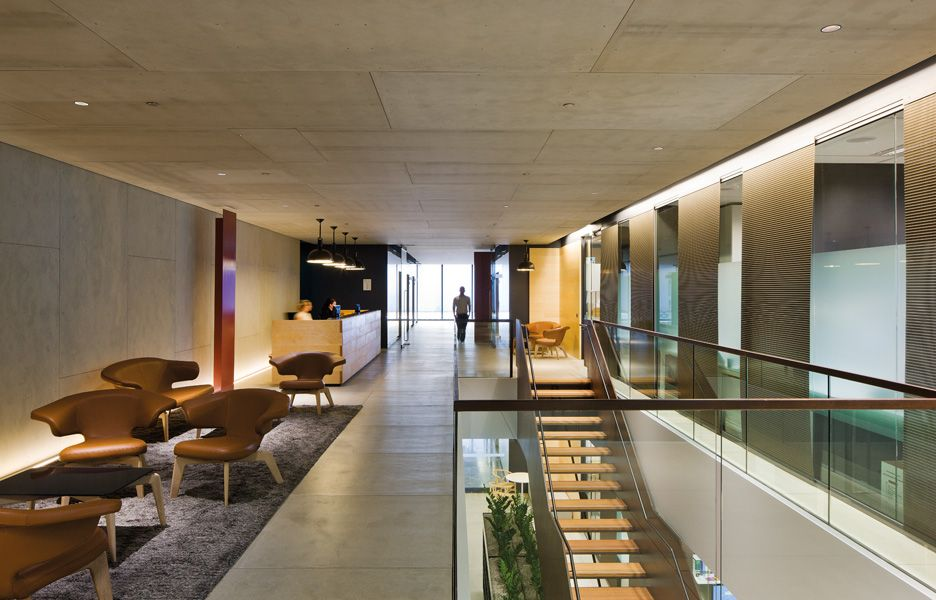 An alternative take on the design of the legal workplace this fitout by bvn donovan hill employs a tough urban material palette and a central street