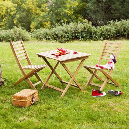 Salon de jardin enfant 2 places en acacia 1 table 2 chaises Ludim ...