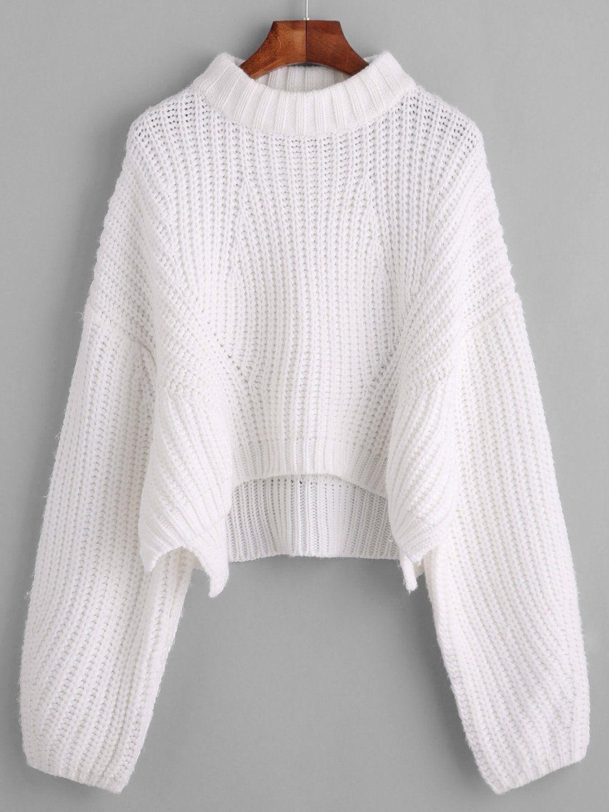 Drop Shoulder Lantern Sleeve Crop Sweater