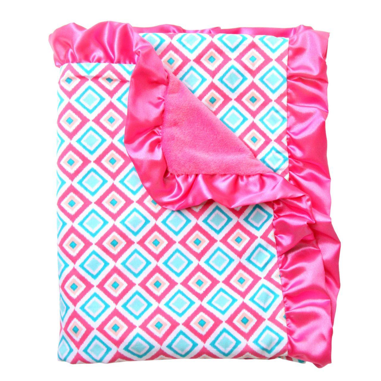 Fresh Pink Aqua Crib Bedding