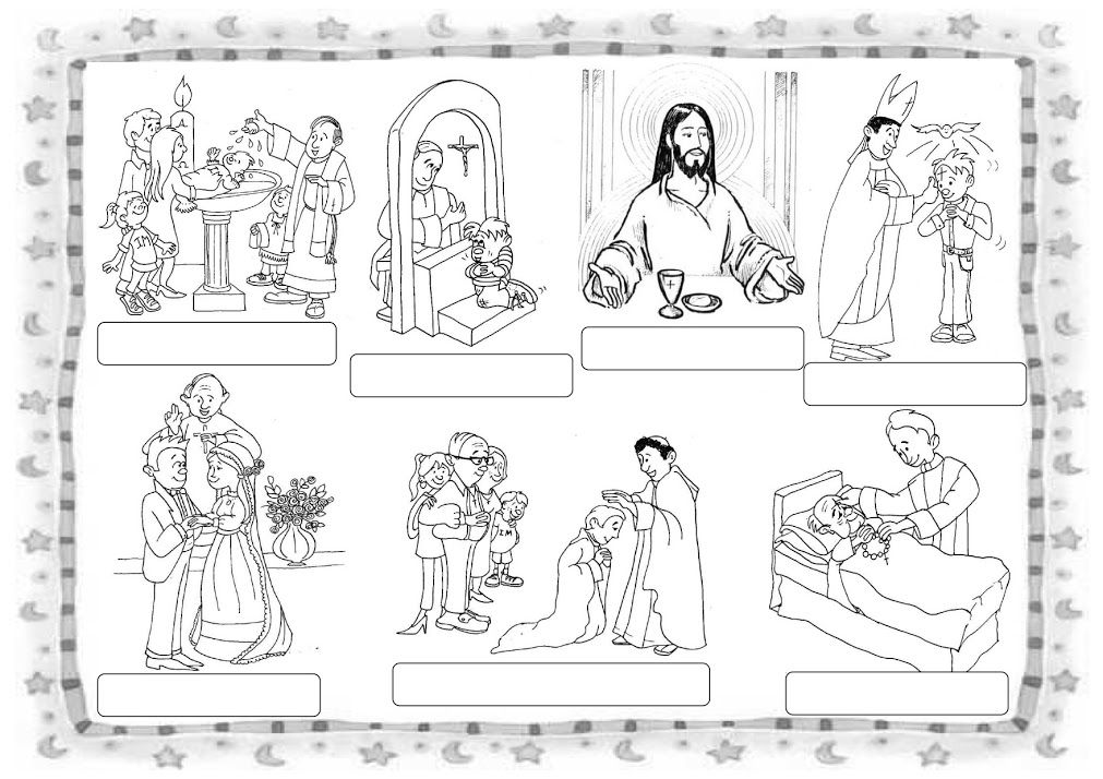 los 7 sacramentos en dibujos para colorear